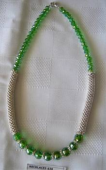Handmade Green and Silver Necklace by Fatima Pardhan