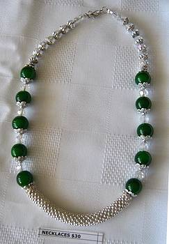 Handmade Jade Green Silver Necklace by Fatima Pardhan