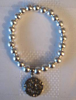 Handmade Silver Bracelet with Hanging Pendant by Fatima Pardhan
