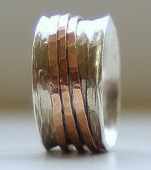 Handmade Unique Wedding Ring Rustic Sterling Silver and 14k rose gold fill wide spinner ring by Nadina Giurgiu