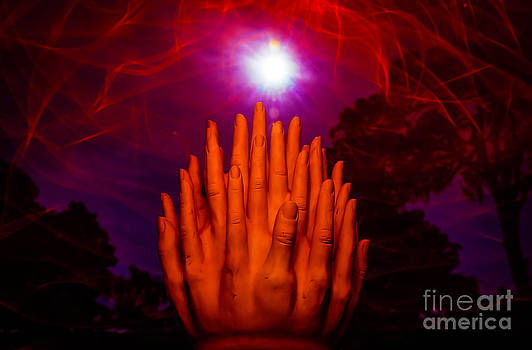 Hands reaching for the Super Moon by Shawn  Bowen