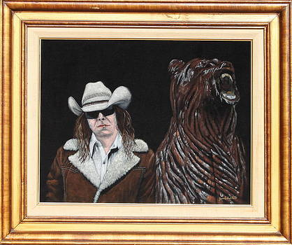 Hank Topless with Chainsaw Bear by Diane Bombshelter