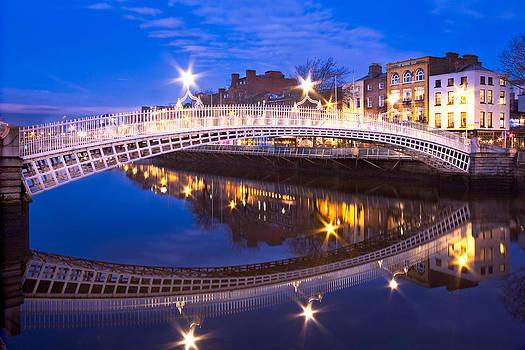 Ha'penny Bridge Reflection at Night - Dublin by Barry O Carroll
