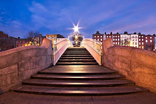 Ha'penny Bridge Steps at Night - Dublin by Barry O Carroll