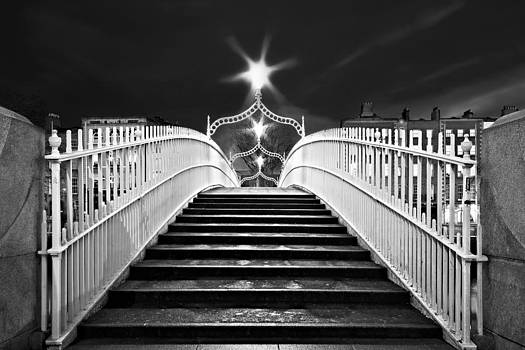 Ha'penny Bridge Steps - Dublin - Black and White by Barry O Carroll