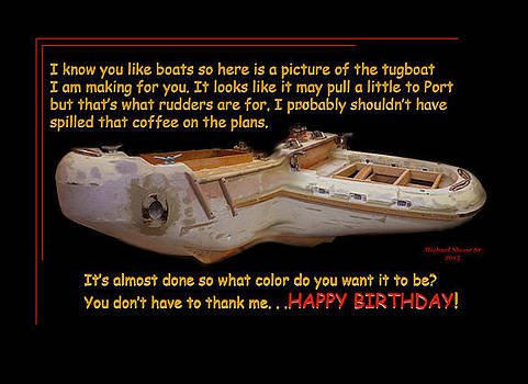 Happy Birthday Tugboat Greeting Card by Michael Shone SR
