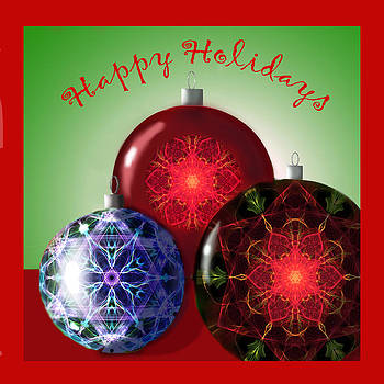 Happy Holidays Christmas Ornaments by Dawn  Gagnon