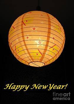 Happy New Yar With A Golden Ball Of Stars by Ausra Huntington nee Paulauskaite