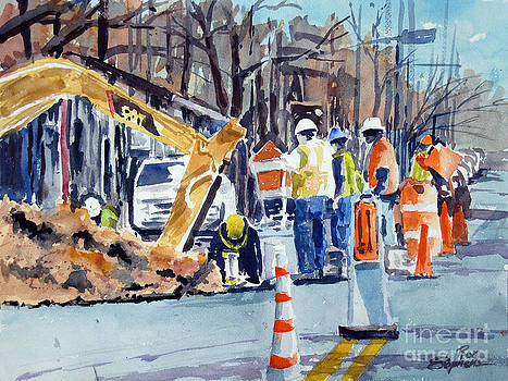 Hard Hats Digging Crew by Ron Stephens