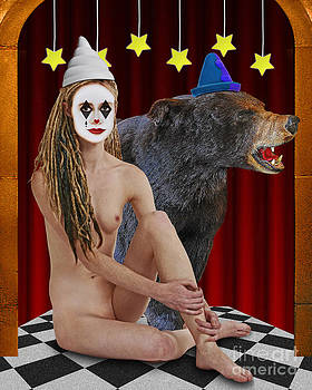 Harlequin Girl With Bear by Keith Dillon