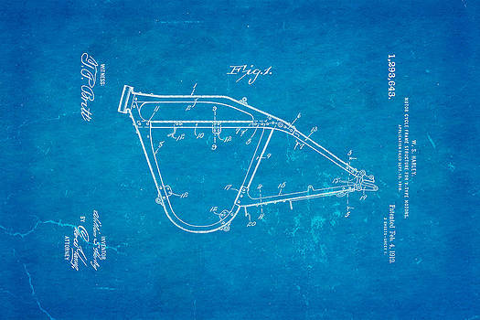 Ian Monk - Harley Davidson Frame for V Type Motors Patent Art 1919 Blueprint