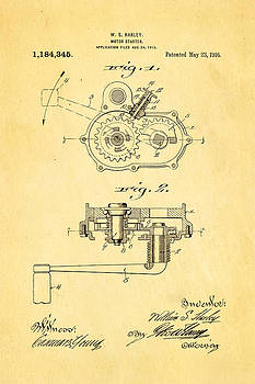 Ian Monk - Harley Davidson Kick Starter Patent Art 1916