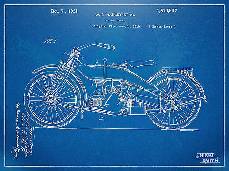 Nikki Marie Smith - Harley-Davidson Motorcycle 1924 Patent Artwork