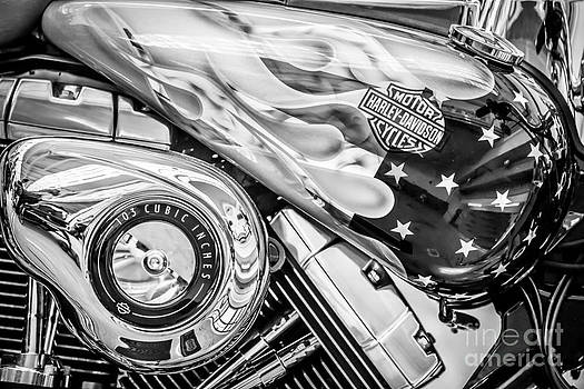 Ian Monk - Harley Davidson Motorcycle Stars and Stripes Fuel Tank - Black and White