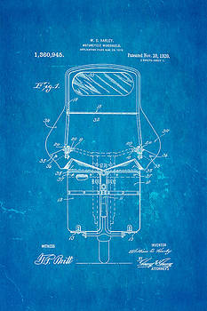Ian Monk - Harley Davidson Motorcycle Windshield Patent Art 1920 Blueprint