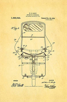 Ian Monk - Harley Davidson Motorcycle Windshield Patent Art 1920