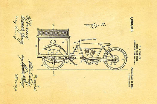 Ian Monk - Harley Davidson Three Wheel Truck 2 Patent Art 1914