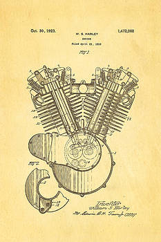Ian Monk - Harley Davidson V Twin Engine Patent Art 1923