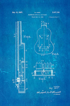 Ian Monk - Hart Gibson First Electric Guitar 2 Patent Art 1937 Blueprint