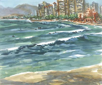 Hawaii-Waikiki Surfers by Ron Libbrecht