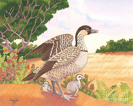 Hawaiian Nene Goose and Goslings by Tammy Yee