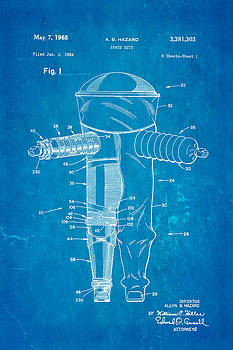 Ian Monk - Hazard Space Suit Patent Art 1968 Blueprint
