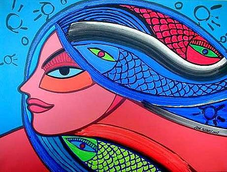 Head of Woman with fish by Jose Miguel Perez Hernandez