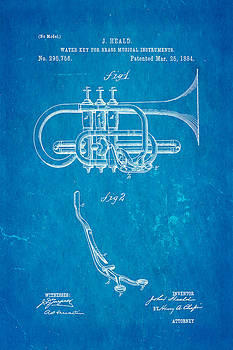 Ian Monk - Heald Brass Instrument Water Key Patent Art 1884 Blueprint