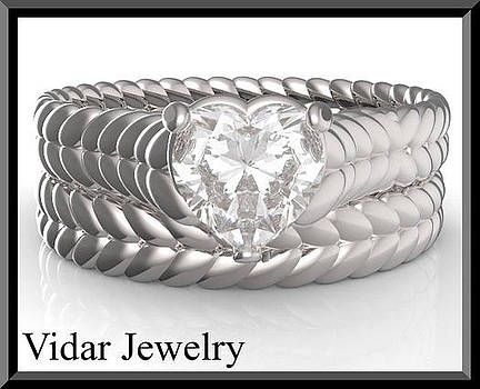 Heart Moissanite 14k White Gold Wedding Ring And Engagement Ring Set by Roi Avidar