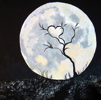Heart Moon and Tree by Lisa Stanley