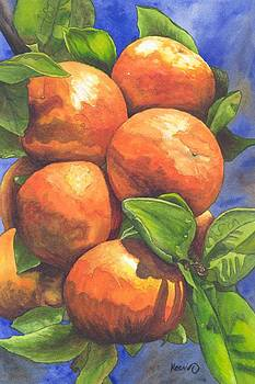 Heavy Load - Oranges on a branch in sunshine by Oty Kocsis