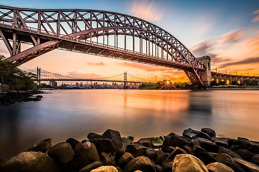 Hell Gate and Triboro bridge at sunset by Mihai Andritoiu