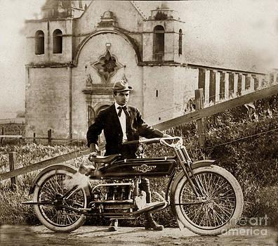 California Views Mr Pat Hathaway Archives - Henderson Motorcycle at Carmel Mission circa 1915