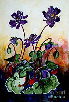 Hepatica after a design by Anne Wilkinson by Veronica Rickard