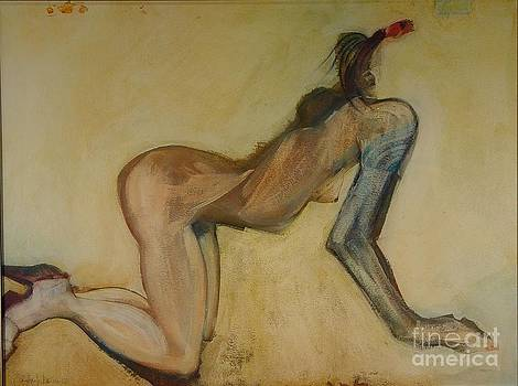 Here Kitty Kitty - Female Nude by Carolyn Weltman