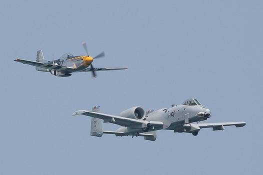 Heritage Flight A10 and P51 Front R by Donna Corless