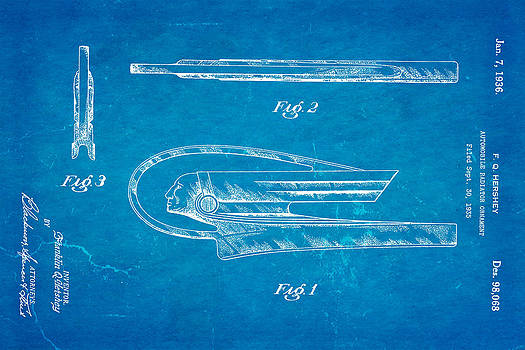 Ian Monk - Hershey Automobile Radiator Ornament Patent Art 1936 Blueprint