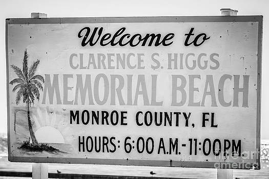 Ian Monk - Higgs Beach Sign Closeup - Key West - Black and White