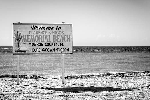 Ian Monk - Higgs Beach Sign - Key West - Black and White