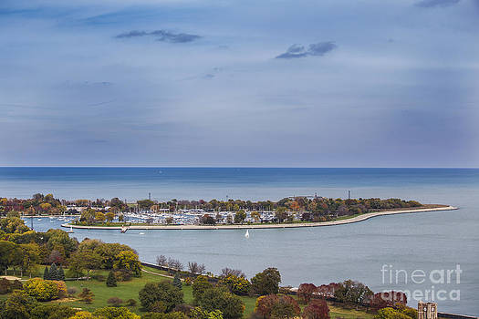 High angle photo of Montrose Harbor and Lake Michigan in autumn by Linda Matlow
