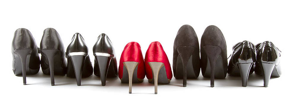 High heels red and black by Thomas Pfeller