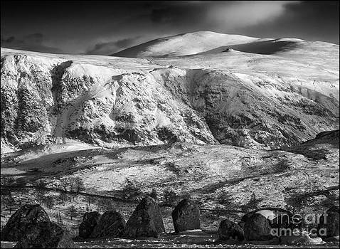 High Rigg from Castlerigg Stone Circle Mono by George Hodlin