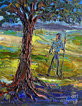 Hiker With Shady Tree by Arthur Robins