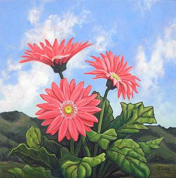 Hills and Gerbera Daisies by James Derieg