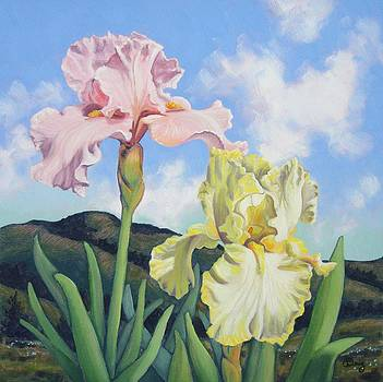 Hills and Irises I by James Derieg