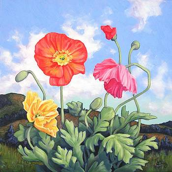 Hills and Multicolored Poppies by James Derieg