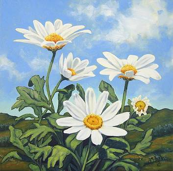 Hills and White Daisies by James Derieg