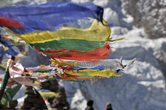 Himalayan Buddhist flags in Nepal by Tomas Mahring