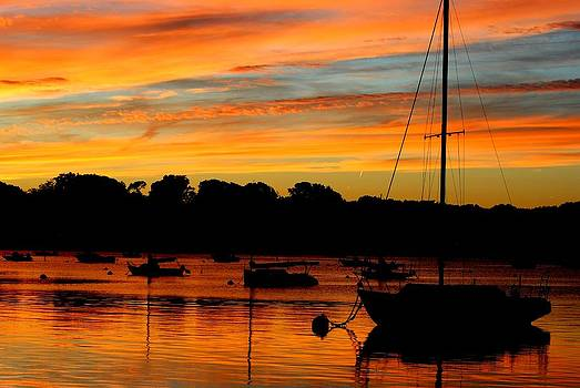 Hingham Sunset and Sailboats by Ronald Bartels