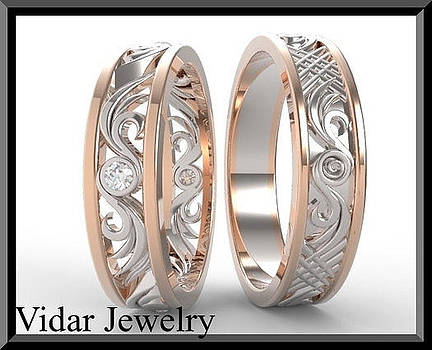 His And Hers 14K Rose And White Gold Matching Wedding Bands Set by Roi Avidar